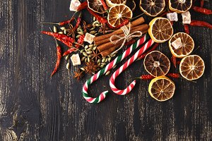 Christmas candies with decorations