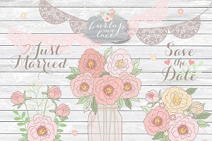 Peonies Jar Lace Rustic clipart
