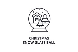 christmas snow glass ball line icon, outline sign, linear symbol, vector, flat illustration