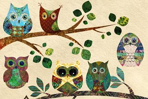 Collage Batik Owls Clipart