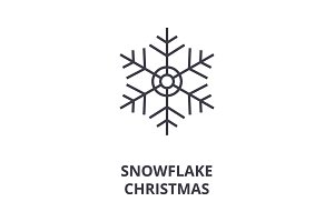 christmas snowflake  line icon, outline sign, linear symbol, vector, flat illustration