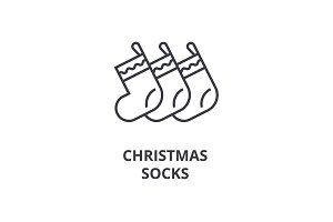 christmas socks line icon, outline sign, linear symbol, vector, flat illustration