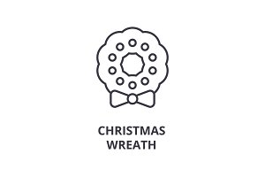 christmas wreath line icon, outline sign, linear symbol, vector, flat illustration