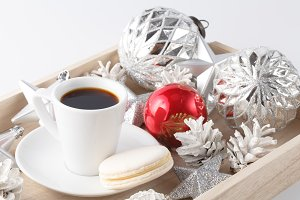 Christmas decoration and coffee
