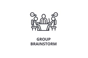 group brainstorm line icon, outline sign, linear symbol, vector, flat illustration