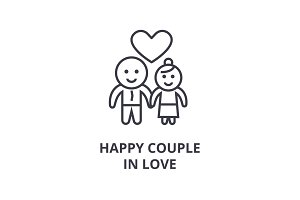 happy couple in love line icon, outline sign, linear symbol, vector, flat illustration