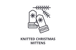 knitted christmas mittens line icon, outline sign, linear symbol, vector, flat illustration