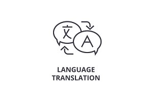 language translation line icon, outline sign, linear symbol, vector, flat illustration