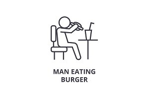 man eating burger line icon, outline sign, linear symbol, vector, flat illustration
