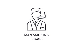 man smoking cigar line icon, outline sign, linear symbol, vector, flat illustration