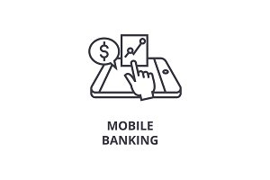 mobile banking line icon, outline sign, linear symbol, vector, flat illustration