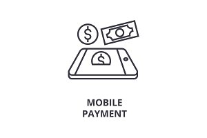 mobile payment line icon, outline sign, linear symbol, vector, flat illustration