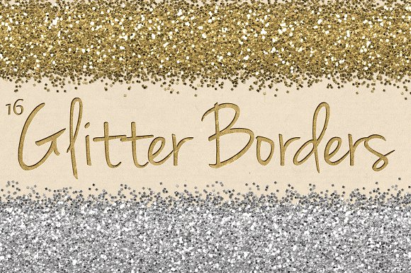 Digital Glitter Borders Clipart Pack