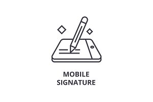 mobile signature line icon, outline sign, linear symbol, vector, flat illustration