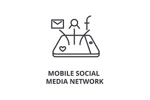 mobile social media network line icon, outline sign, linear symbol, vector, flat illustration