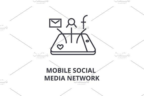 mobile social media network line icon, outline sign, linear symbol, vector, flat illustration