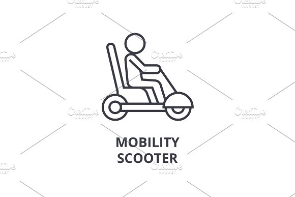 mobility scooter line icon, outline sign, linear symbol, vector, flat illustration