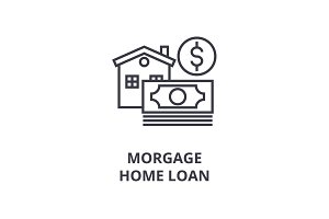morgage, home loan line icon, outline sign, linear symbol, vector, flat illustration