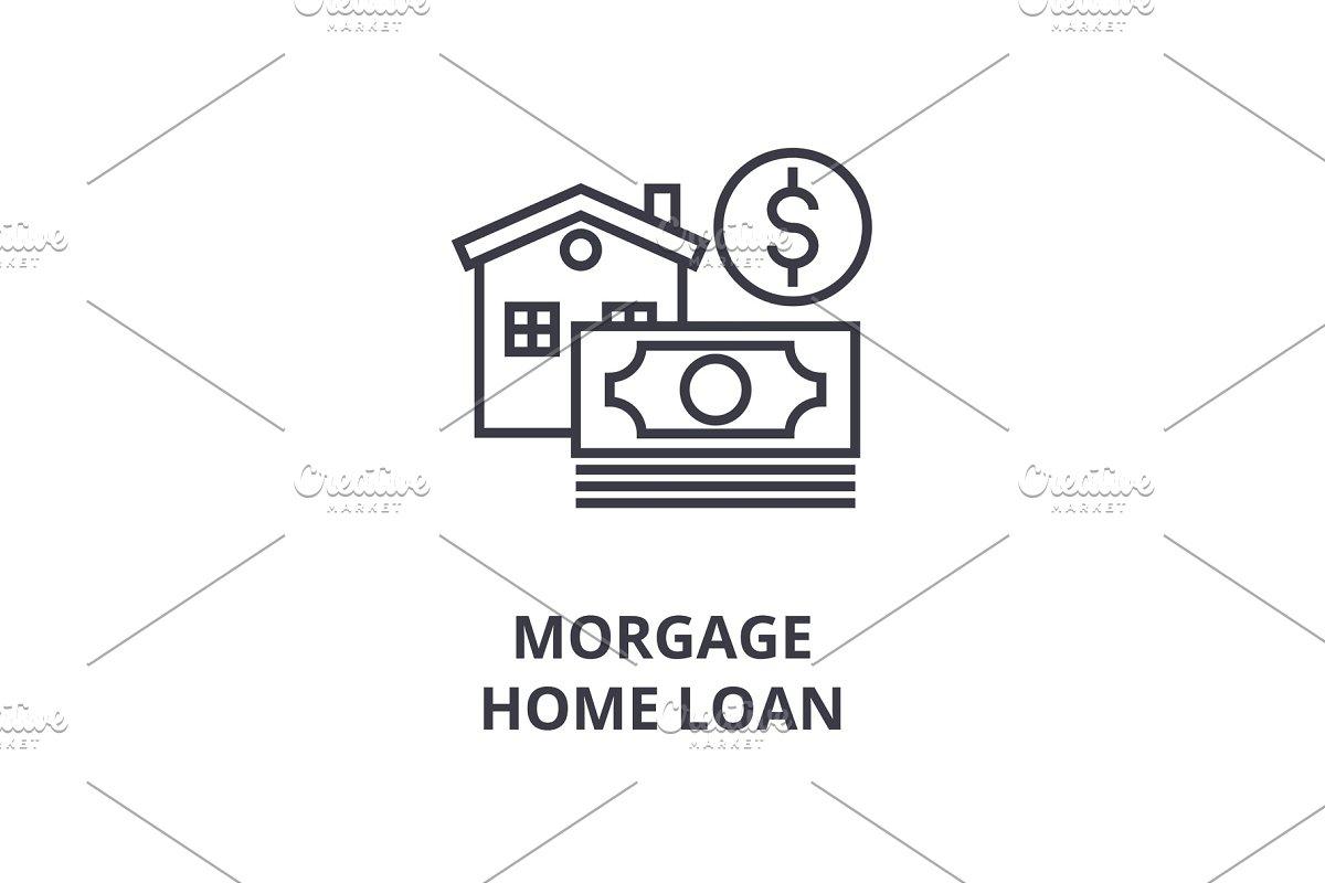 morgage, home loan line icon, outline sign, linear symbol, vector, flat illustration