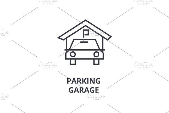 parking garage line icon, outline sign, linear symbol, vector, flat illustration in Illustrations
