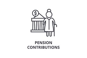 pension contributions line icon, outline sign, linear symbol, vector, flat illustration