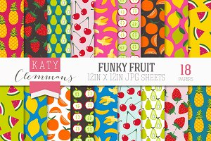 Funky Fruit digital paper pack