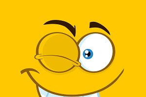 Winking Cartoon Funny Face