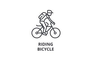 riding bicycle line icon, outline sign, linear symbol, vector, flat illustration