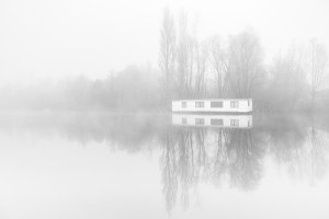 Desolate Houseboat in the fogg.