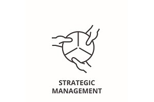 strategic management line icon, outline sign, linear symbol, vector, flat illustration