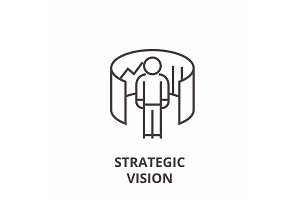 strategic vision line icon, outline sign, linear symbol, vector, flat illustration