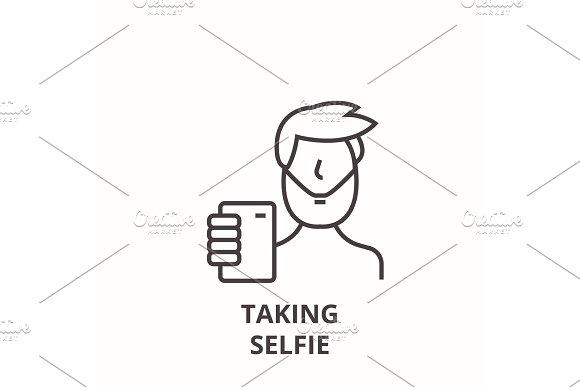 Taking Selfie Line Icon Outline Sign Linear Symbol Vector Flat Illustration