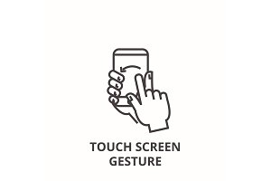 touch screen gesture line icon, outline sign, linear symbol, vector, flat illustration