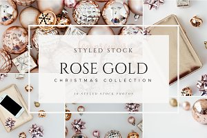 Rose Gold Christmas Stock Photo Vol1