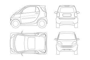 Vector compact small car in outline.