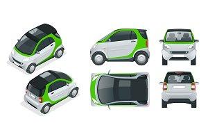 Vector compact small car. Small Compact Hybrid Vehicle. Eco-friendly hi-tech auto. Easy colour change.