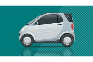 Vector compact small car. Template vector isolated on transparent. View side
