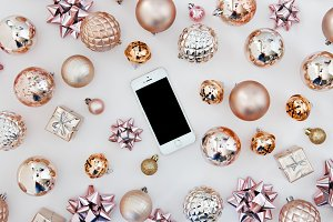 iphone and christmas decorations