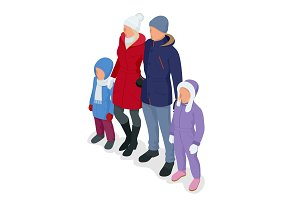 Isometric happy family isolated on white. Father, mother and two children daughters on a snowy winter walk. Winter travel. Frost winter season.