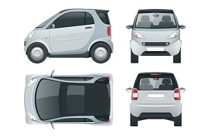 Vector compact small car. Small Compact Hybrid Vehicle. Eco-friendly hi-tech auto. Easy colour change. Template vector isolated on white View front, rear, side, top