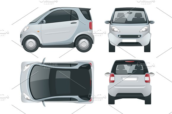 Vector Compact Small Car Small Compact Hybrid Vehicle Eco-friendly Hi-tech Auto Easy Colour Change Template Vector Isolated On White View Front Rear Side Top