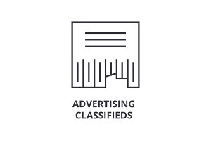 advertising classifieds line icon, outline sign, linear symbol, vector, flat illustration