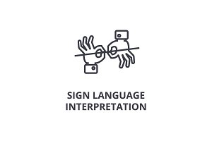 sign language interpretation line icon, outline sign, linear symbol, vector, flat illustration