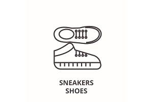sneakers shoes line icon, outline sign, linear symbol, vector, flat illustration