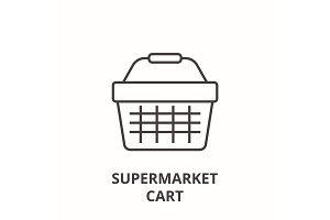 supermarket cart line icon, outline sign, linear symbol, vector, flat illustration