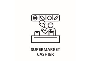 supermarket cashier line icon, outline sign, linear symbol, vector, flat illustration