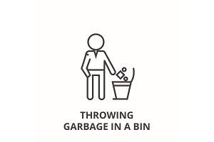 throwing garbage in a bin line icon, outline sign, linear symbol, vector, flat illustration