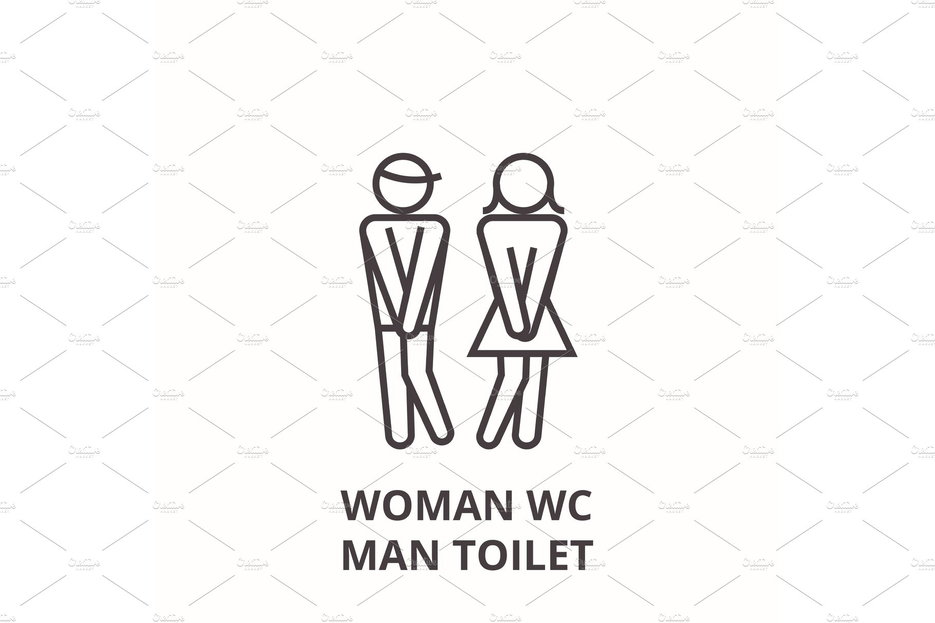 woman wc, man toilet line icon, outline sign, linear