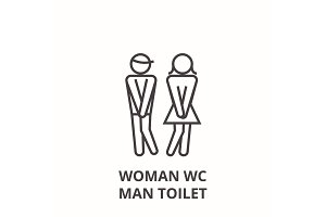 woman wc, man toilet line icon, outline sign, linear symbol, vector, flat illustration