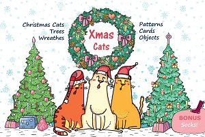 Xmas Cats: clip-art, patterns, cards